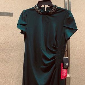 Beaded green formal dress